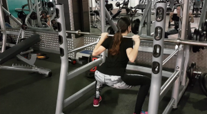Working on squat form with just the bar