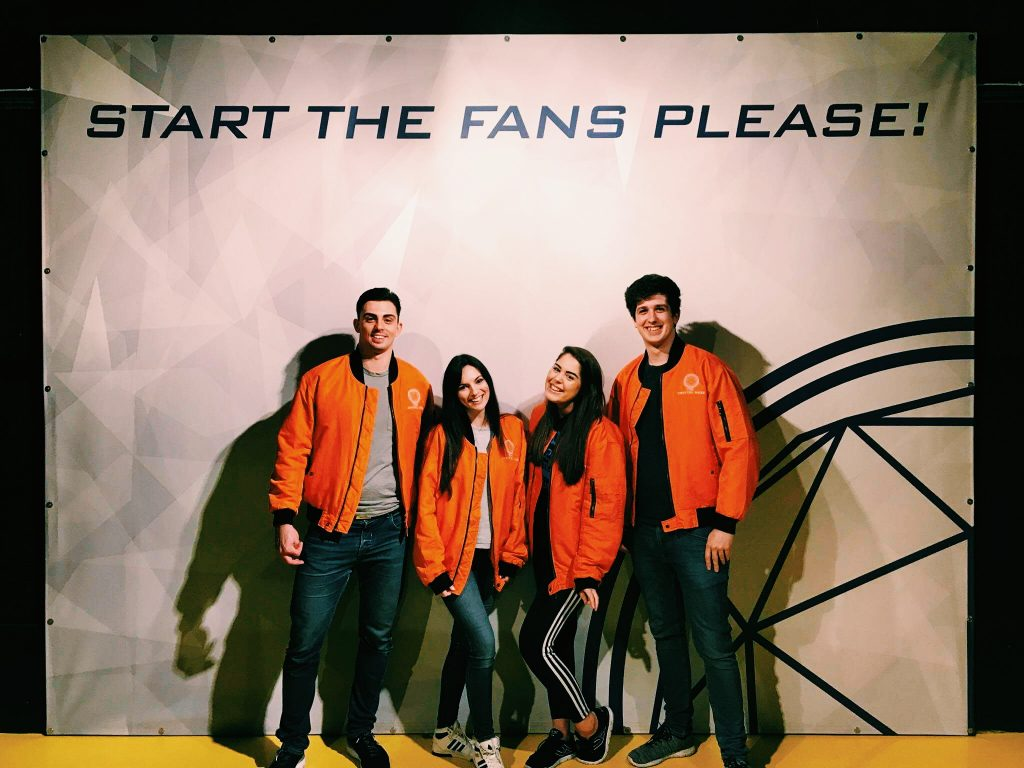 Team photo on crystal maze jackets