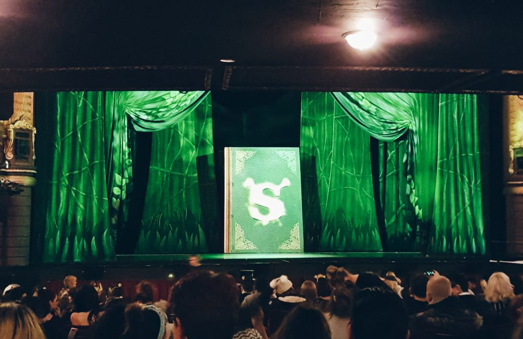 Green Shrek book & Green curtains