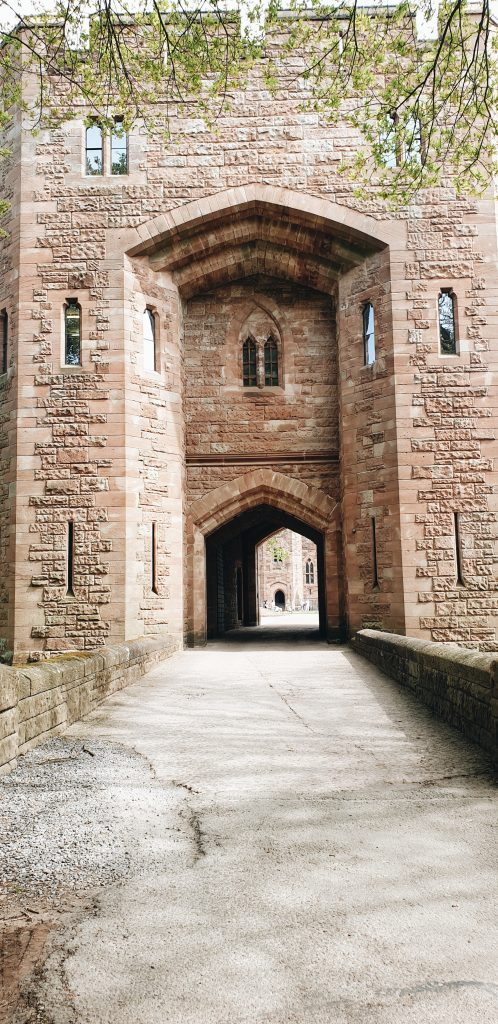 Gate entrance to Peckforton Castle in Cheshire